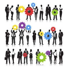 Vector of Business People Holding Gears