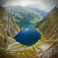 Landscape view of mountain lake in Tatra mountains