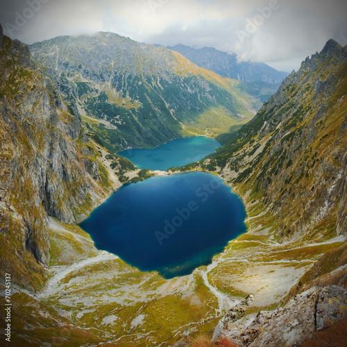 Landscape view of mountain lake in Tatra mountains