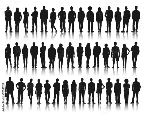 Silhouette Group of People Standing - 70245152
