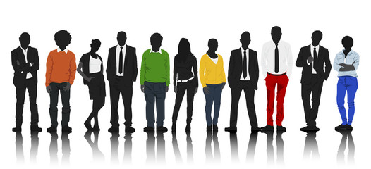 Silhouettes Group of Colorful Casual People in a Row