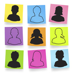 Vector Of Silhouette Avatars In Adhesive Notes