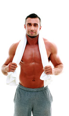 Handsome muscular sportsman isolated