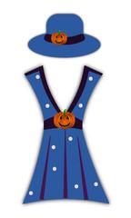 Abito blu con cappello di Halloween
