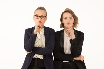 two business woman thinking