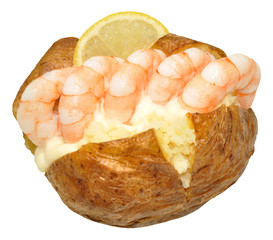 Baked Potato Filled With Prawns