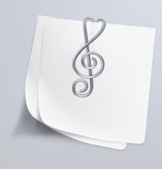 Paper clip (treble clef). Vector illustration