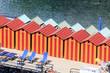 canvas print picture - bunte Kabinen am Strand - Umkleide