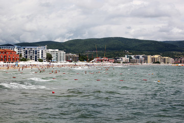 People visit  Sunny Beach on June 19, 2014