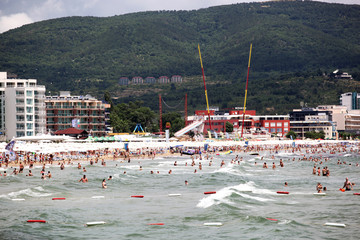People visit  Sunny Beach on June 19, 2014