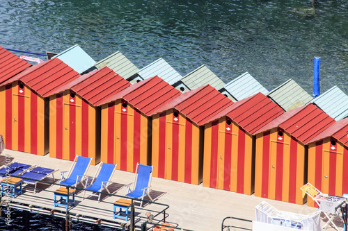 canvas print picture bunte Kabinen am Strand - Umkleide