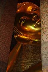 Face of Golden Buddha at Wat Pho, Bangkok, Thailand