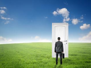 man standing in front of the door / EXIT / Nature