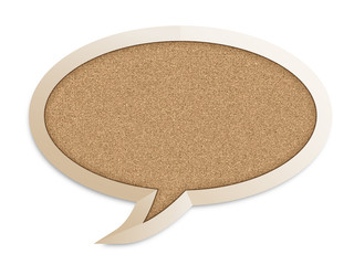 CORKBOARD in the shape of a SPEECH BUBBLE (info message)