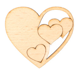 Decorative wooden heart isolated on white
