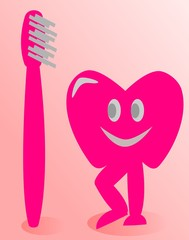 Diente con cepillo de dientes