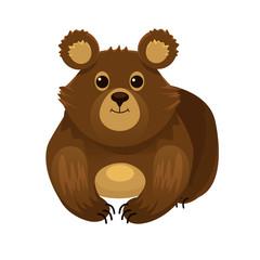Vector cartoon flat bear illustration