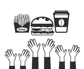 Stock vector flat fast food design icon set