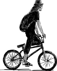 bicyclist in a hat