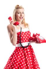 Pin up Girl mit Telefon