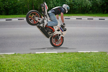 Trick on motorcycle