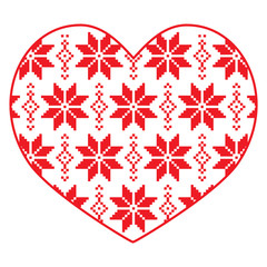 Nordic, winter red and white heart pattern