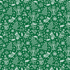 Christmas Green Seamless Pattern. Vector illustration. New year