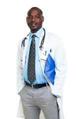 Portrait of a smiling male doctor holding a notepad on white