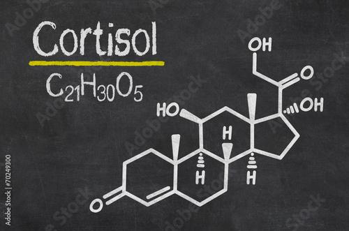 Schiefertafel mit der chemischen Formel von Cortisol
