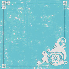 Abstract Grunge blue background. Ornament frame