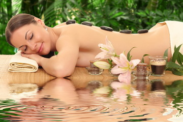 young beautiful woman in spa environment.