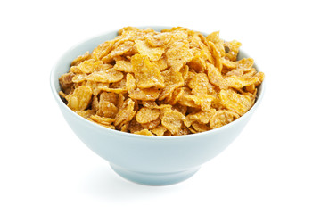 Bowl of sugarcoated corn flakes