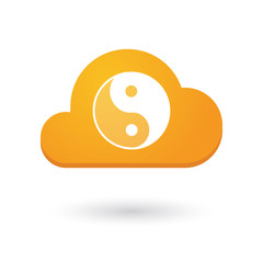 Cloud icon with a ying yang