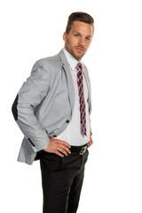 Manager vor weißem Hintergrund
