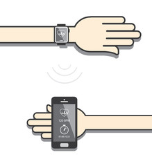 Smartwatch and smartphone communication. Smartwatch sending fitn