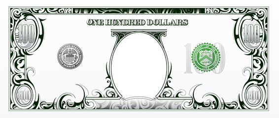 100 dollars bill. Cartoon money