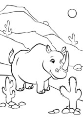 Rhino standin and smiling