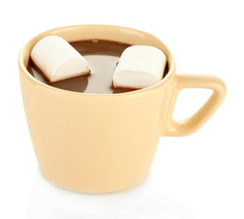 Hot chocolate with marshmallows in mug, isolated on white