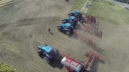 Modern new tractors  . Aerial  top view