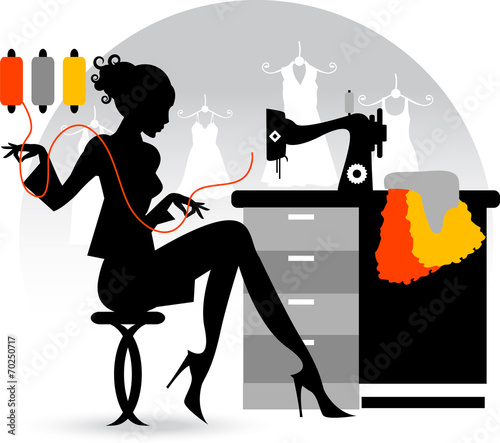 Seamstress work on sewing machine professional  - 70250717