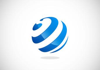 globe sphere curl communication logo