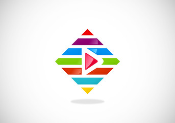 play video colorful line logo