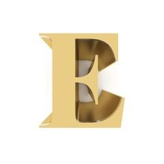Golden letter E on white background