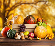Autumn agriculture products on wood