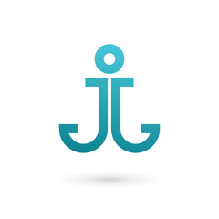 Letter J anchor logo icon design template elements