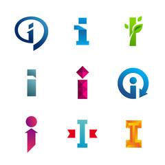Set of letter I logo icon design template elements
