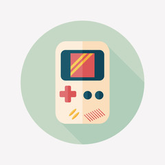 Handheld game flat icon with long shadow,eps 10