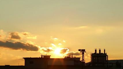 Beautiful industrial sunset