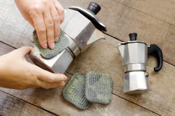 steel wool soap cleaning espresso coffee maker