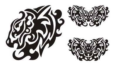 Lion elements tattoo in tribal style